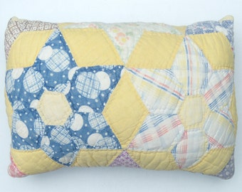 Vintage Quilt Pillow, Upcycled Quilt Pillow, Star Quilt Pillow