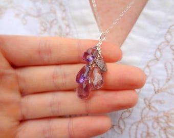 Natural Amethyst Quartz Gemstone Pendant. Briolette Cluster Necklace. Sterling Silver Chain Pendant Necklace.