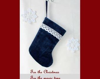 Blue Christmas stocking Velvet stocking Christmas sock White lace Christmas decoration fireplace Christmas Gift Idea for family Xmas gift