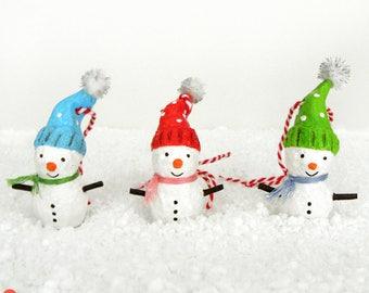 Snowman Ornament, Christmas Snowman Decoration, Set Of 3, Paper Mache Snowman, Cute White Snowman, Christmas Tree Decoration, Christmas Gift