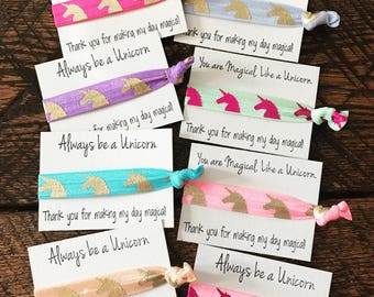 Unicorn Birthday, Unicorn, Unicorn Party, Birthday Party Favors, Unicorn Birthday Party Hair Ties, Unicorn Hair Ties, Bulk