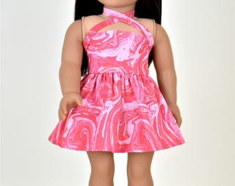 18 inch doll dress Criss Cross Halter Bright Pink