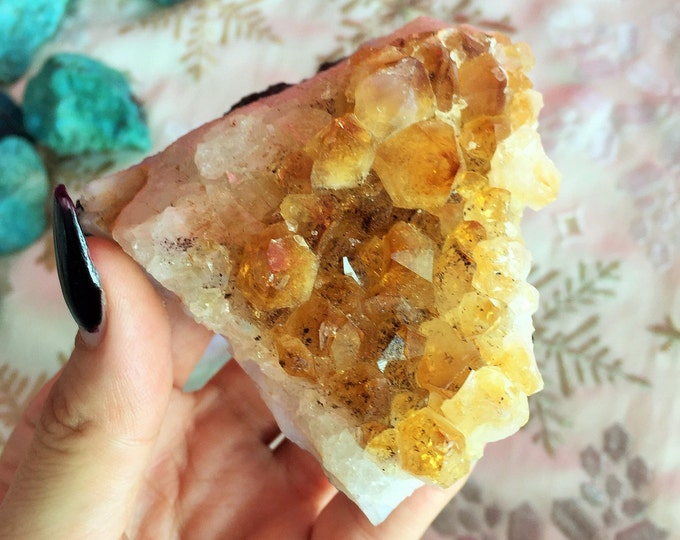 Large Citrine Cluster Crystal infused w/ Reiki