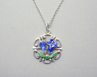 Art Nouveau Blue Angel Trumpet pendant necklace