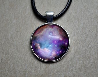 Galactic Pink Nebula - Glass Cabochon Pendant / Outer Space / Galaxy / Stars / Nebula / Gifts for Him or Her