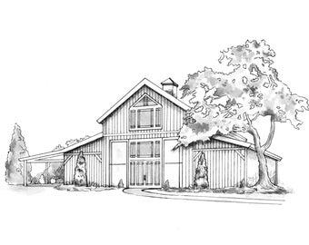 Barbara May - VIP Studio Reservation | Wedding Venue Illustration | Custom Art Reservation | Custom Venue Drawing | Wedding Gift