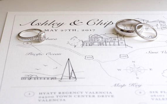 Ashley Buxton | VIP Reservation | Wedding Map Design
