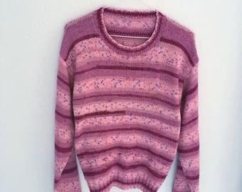 Vintage Purple stripe space dye knit sweater jumper small