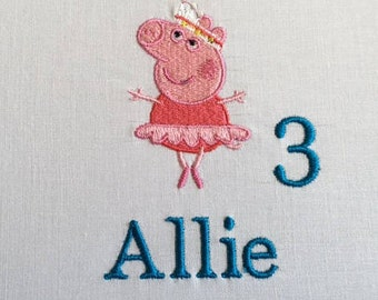 Peppa Pig, Peppa Pig Birthday, Peppa Pig Birthday Shirt, Peppa Pig Shirt, Girls Peppa Pig Shirt, Peppa Pig Tee, Embroidered