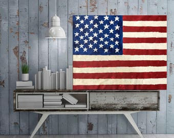 American Flag painting, USA flag, Abstract art, 4th July Patriotic art, Acrylic Painting,  Modern wall art Home decor, Red, White  Blue