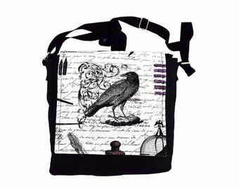 Edgar Allan Poe Handbag. The Raven themed messenger style shoulder bag. Perfect Mother's Day gift idea for lovers of classic literature.