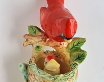 Mother bird ceramic figurine, cardinal figurine,