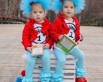 Dr Seuss inspired headbands, thing 1 and thing 2 headbands, hair accessories, accessories for girls, tutu headbands, dr Seuss day