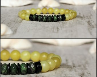 yellow bracelet faceted bracelet jewelry ruby zoisite bracelet womens christmas gift idea for women birthday idea gift yellow and green