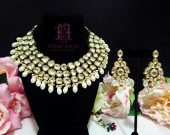 Jadau Polki Pearls Necklace, Kundan Necklace, Indian Necklace Set, Kundan Jewelry ,Meenakari, Indian Jewelry