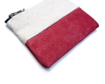 Red Suede & Stone Linen Mini Pouch. Coin Purse / Wallet.