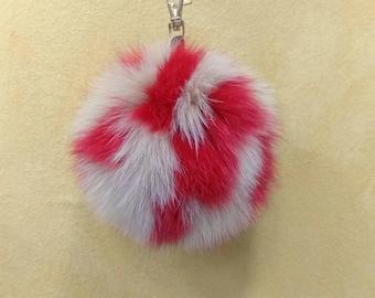 Fox Fur Pom Pom, Bag Pom Pom,Fur keychain F627