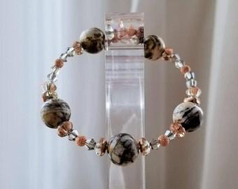 Natural Jasper Semi-Precious Gemstone Bracelet, Bangle, Protection Stones, Rose Gold Plated, Crystal