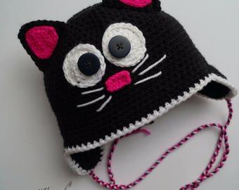 Custom cat Hat crocheted lined with fleece