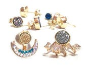 Gold Druzy Stud Minimalist Earrings with love or moon ear jacket titanium druse bridesmaid gift silver rose gold rainbow blue