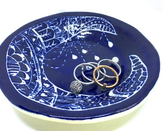 Moon dish, ceramic trinket dish navy blue ring dish jewelry storage boho bohemian tray catchall plate crescent moon with crystals samhain