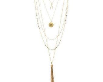 "Layered Necklace Set ""Hope"" Pendant / Multi Strand Necklace / Hope Necklace / Tassel Necklace / Wishbone Necklace / Beaded Necklace"