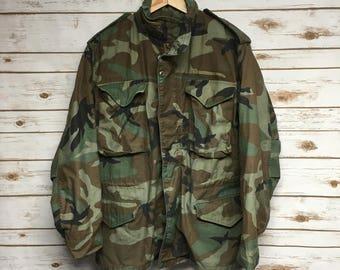 Vintage Camo M-65 field jacket Od Green army coat 70's 80's army field jacket M65 camouflage military uniform - Small/Medium