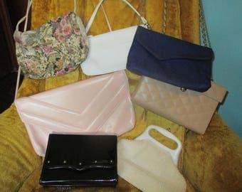 seven vintage 70's and 80's purses, vintage handbag, retro purse, retro handbag, black purse, beaded purse, pink purse, box purse, eighties