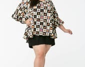 Black Check Giraffe Ruffle Sleeve Trapeze Top available in all sizes inc plus size 20 22 24 26 28 30 32