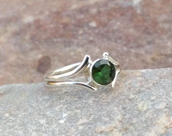 Natural Green Tourmaline Round Cut Handmade Sterling Silver Ring - Green Tourmaline Ring - Green Tourmaline Round Cut Ring- Tourmaline Ring