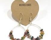 watermelon tourmaline earrings, boho chic jewelry, gemstone earrings, october birthstone jewelry, pink tourmaline earrings, crunchy mom gift