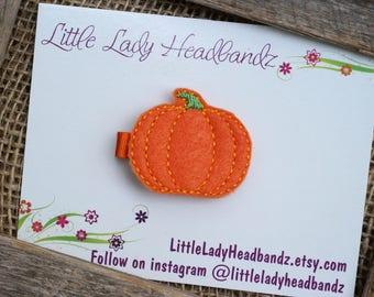 Pumpkin hair clip feltie - felt pumpkin toddler clippie girl clip - no slip grip hair barrette