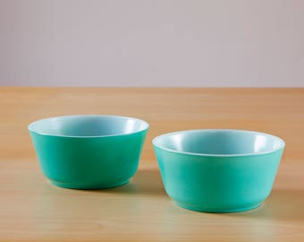 Vintage pair of green /turquoise milk glass cereal bowls