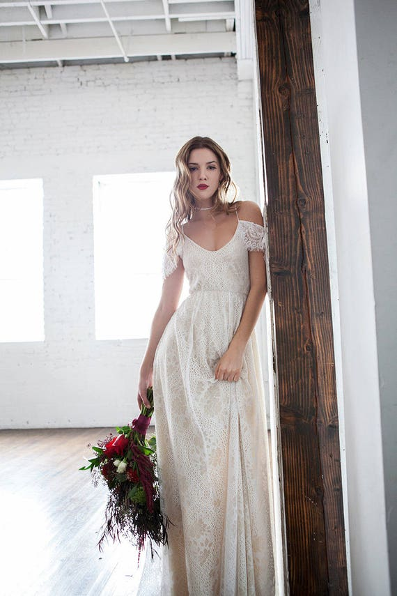 Off shoulder wedding dress boho wedding dress hippie wedding Hippie vintage wedding dresses