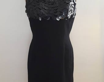 Vintage 1960's Black Sleeveless Sheath Dress Sequin Paillette Rhinestone Bodice Sz Med Large Mod