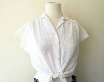 Vintage 1970s gauze cotton x lace white top