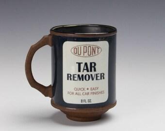 "Porcelain Mug ""Tar Remover"" w/ Black Rim"