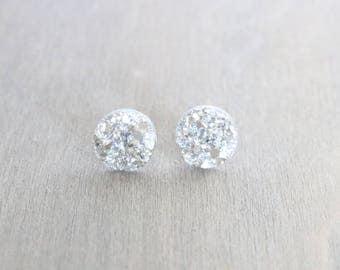 Silver Druzy Bronze Studs, Faux Druzy, Bronze Studs, Bronze Earring Studs, Druzy Earrings, Sparkle, Earrings, Gift for Her, Boho Studs