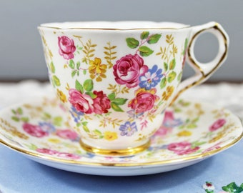 Vintage Royal Stafford 'June Roses' Pink Rose Floral English Bone China Teacup and Saucer, Gifts for Her Tea Party