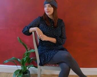 Women's 70's style spot print dress