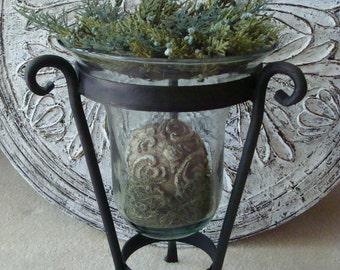 Large Black Iron Glass Hurricane Candle Holder Vase French Country Farmhouse Rustic Primitive Christmas Decor Wedding Decor