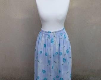 Vintage blue floral mid-length skirt, 1970s, large