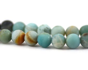 Black Gold Amazonite Stone Tourmaline Pyrite Matte Light Blue Black Rust Cream Round Stone Strand 8mm