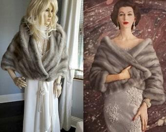 Luxury Vintage Gorgeous GREY Mink Fur Stole - Silver Mink Cape -Real Mink Fur Shawl  Capeletl - Gray Fur Wrap - Coat - Shrug - Bolero Gatsby