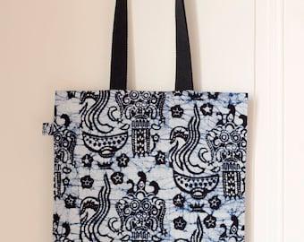 Tote bag/sac en tissu imprimé de Bali en Indonésie // Modèle Kiwon
