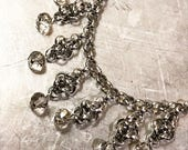 Stainless steel and glass necklace