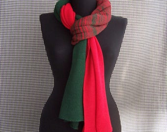big long thin soft red-grin gradient striped knit wool blend scarf for men or women
