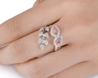 Diamond Flower Ring, Pink Diamond Ring, Diamond Engagement Ring, 18K white and rose gold, Pear Shape Engagement Ring