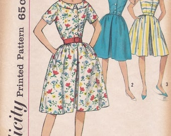 Free Us Ship Sewing Pattern Vintage Retro 1960s 60s Simplicity 3910 Bust 34 Culotte Pantdress Sleeveless Neatly Cut Jackie Era Shirtdress