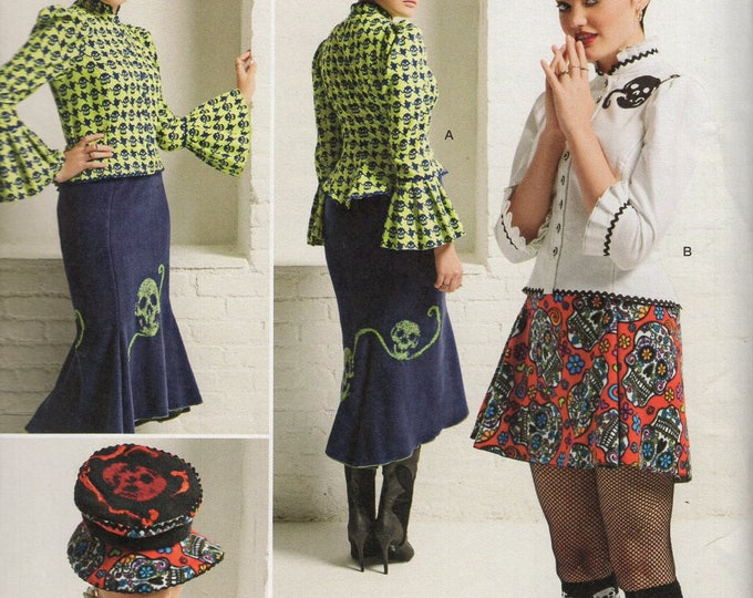 Simplicity 8020 Sewing Pattern Free Us Ship Goth Steampunk Top Skirt Hat Skeleton Size 4/12 Bust 29 30 32 34  Uncut (Last size left)